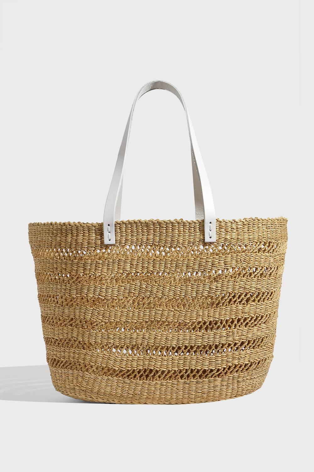MUUN PAOLA HAND-WOVEN STRAW BAG, SIZE OS, WOMEN, BEIGE