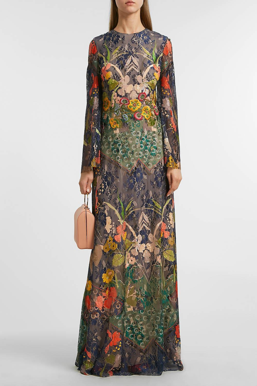 REEM ACRA EMBROIDERED LACE GOWN, SIZE US8, WOMEN