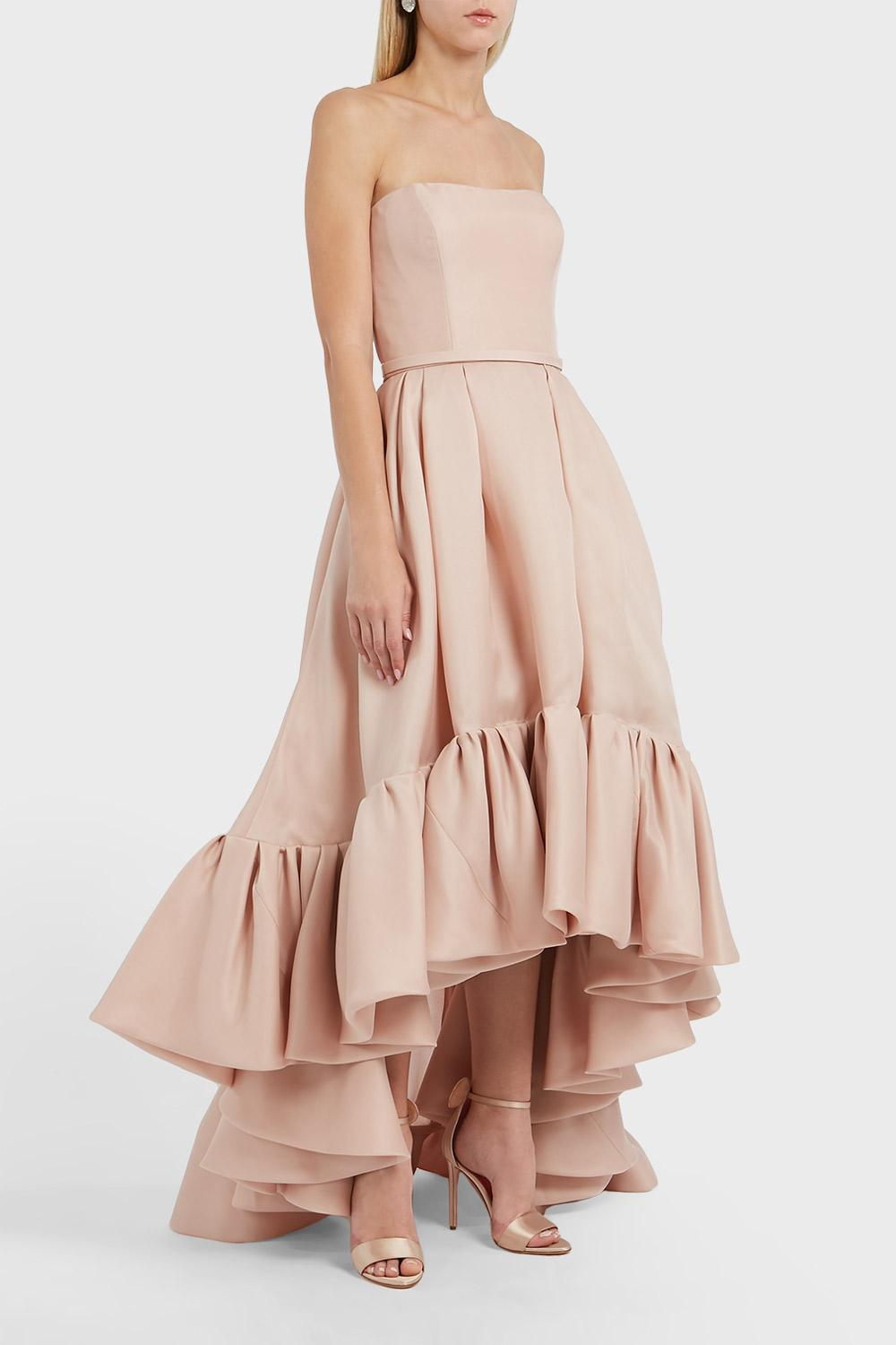 REEM ACRA RUFFLED HEM SILK DRESS, SIZE US8, WOMEN, PINK