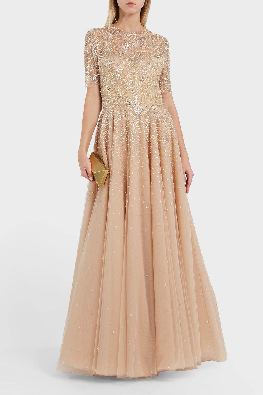 REEM ACRA EMBELLISHED TULLE DRESS, SIZE US8, WOMEN, METALLIC