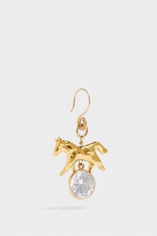 SONIA BOYAJIAN HORSE GOLD-TONE CUBIC ZIRCONIA EARRING, SIZE OS, WOMEN
