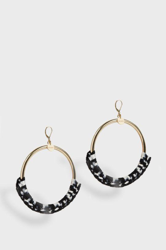 WOVEN LARGE HOOPS, SIZE OS, WOMEN, BLACK