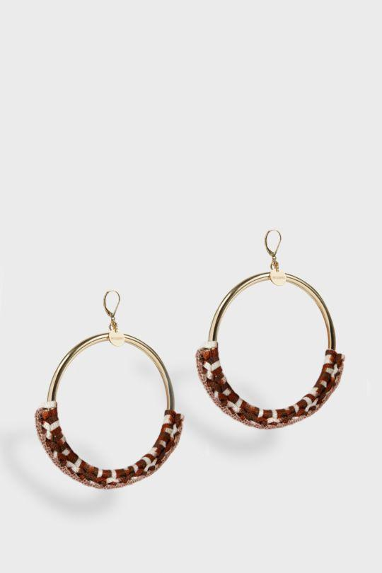WOVEN LARGE HOOPS, SIZE OS, WOMEN, BROWN