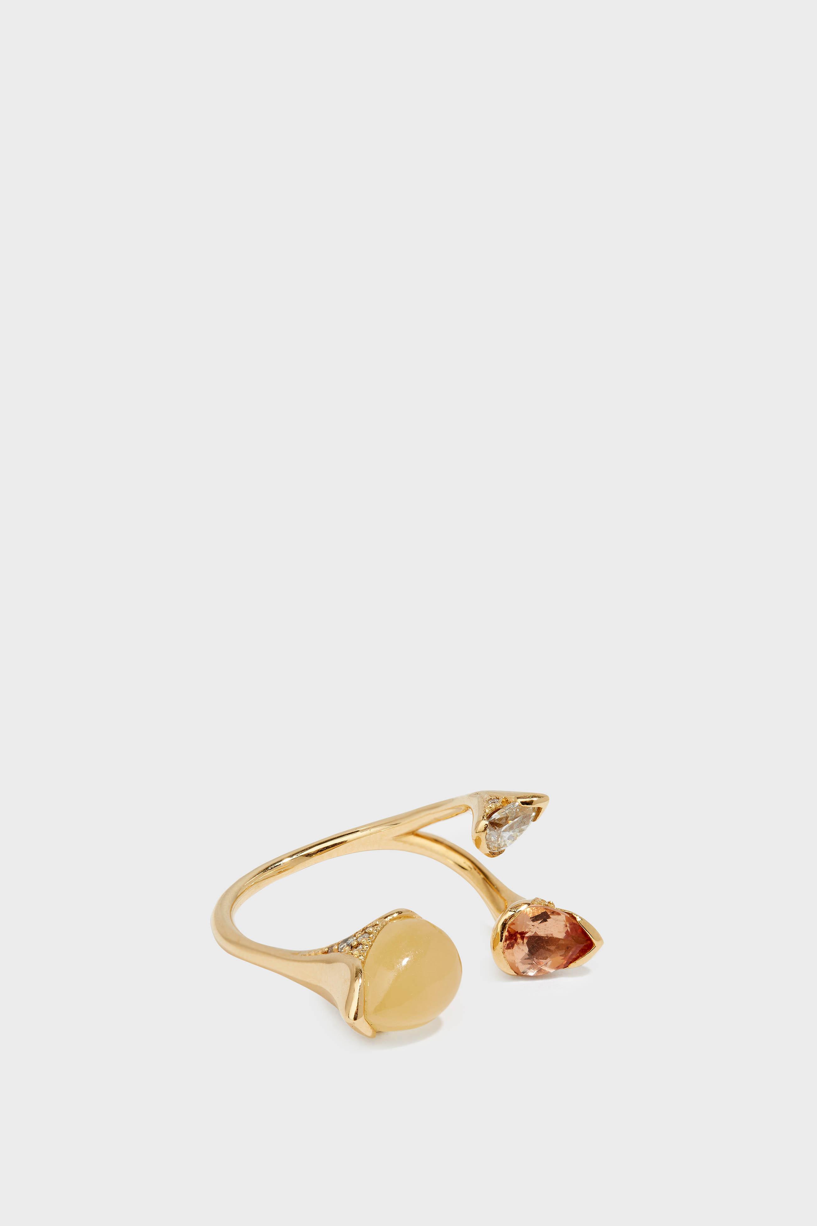FERNANDO JORGE 18-KARAT GOLD DIAMOND, IMPERIAL TOPAZ AND CALCITE RING