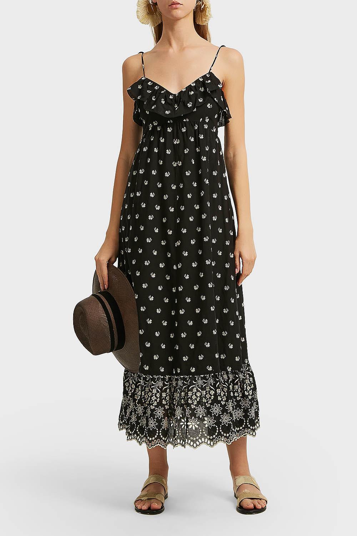 Moonbeams embroidered cotton dress Athena Procopiou BJnEw