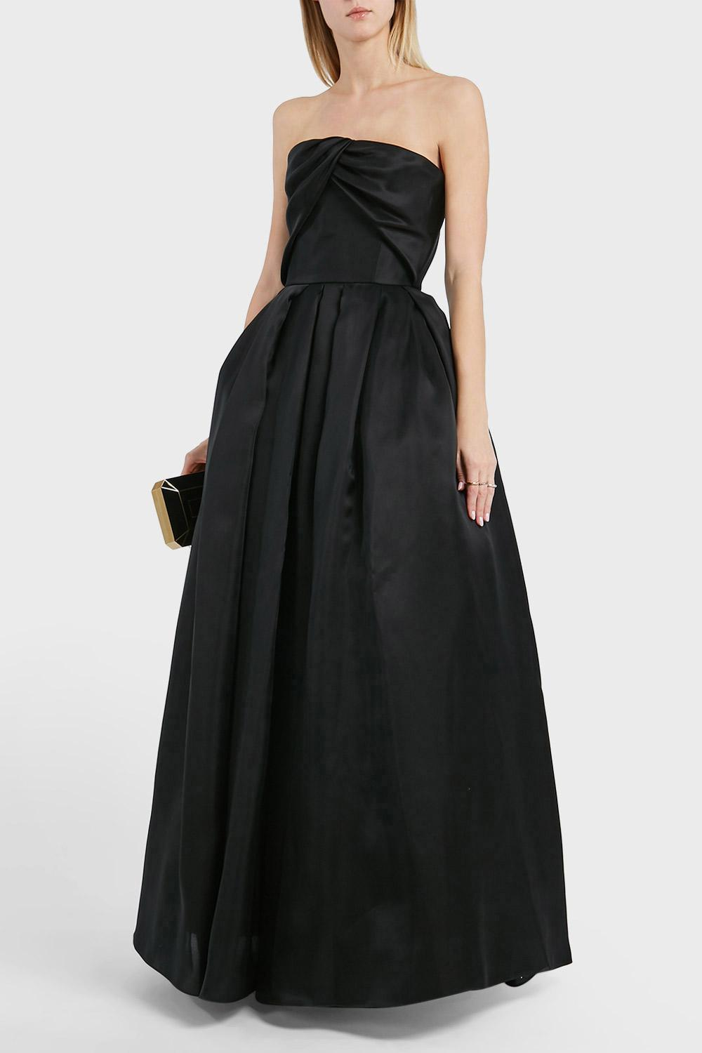 REEM ACRA STRAPLESS SILK GOWN, SIZE US8, WOMEN, BLACK