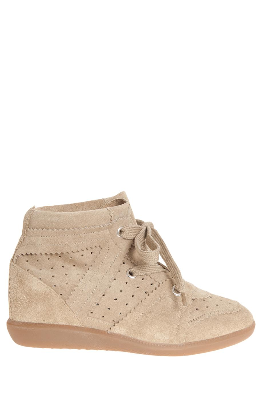 BOBBY SUEDE SNEAKERS, SIZE FR40, WOMEN, NEUTRAL