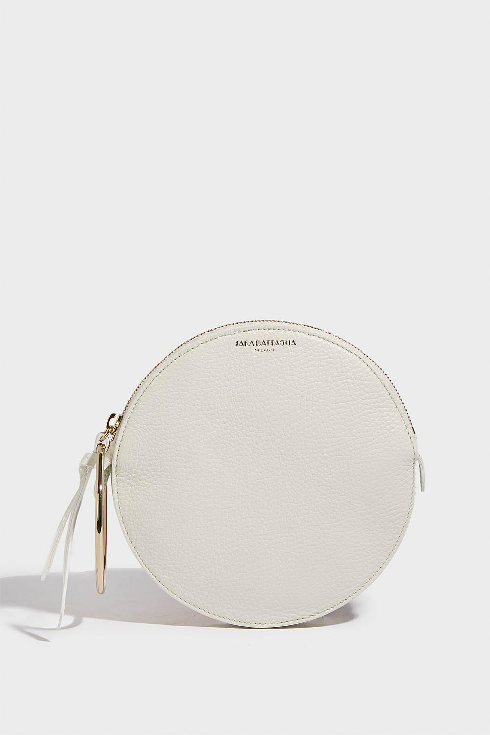 Sara Battaglia Leather Round Bracelet Bag