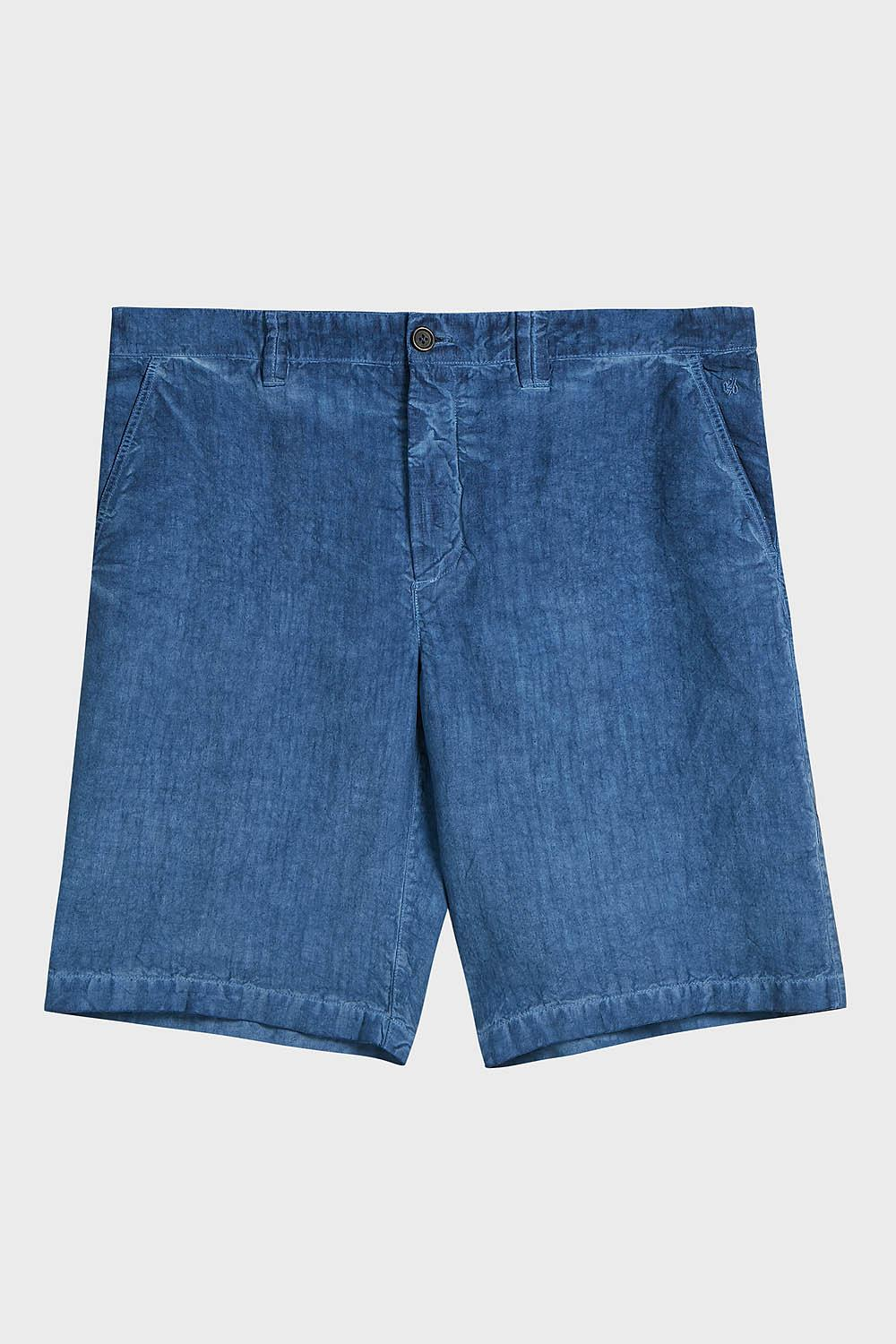 120% LINO LINEN SHORTS, SIZE IT52, MEN, BLUE