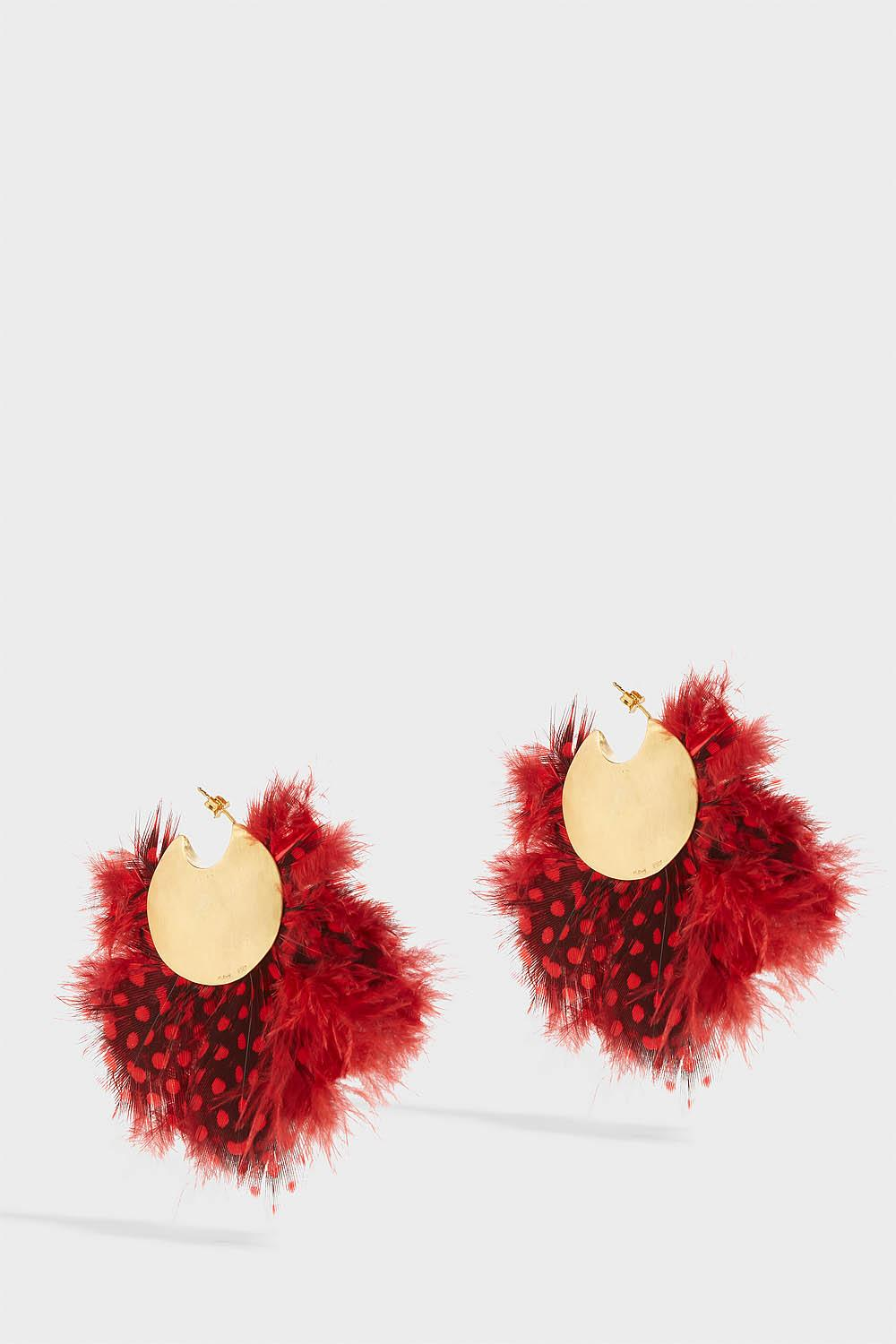 KATERINA MAKRIYIANNI GOLD-TONE FEATHER EARRINGS, SIZE OS, WOMEN, RED