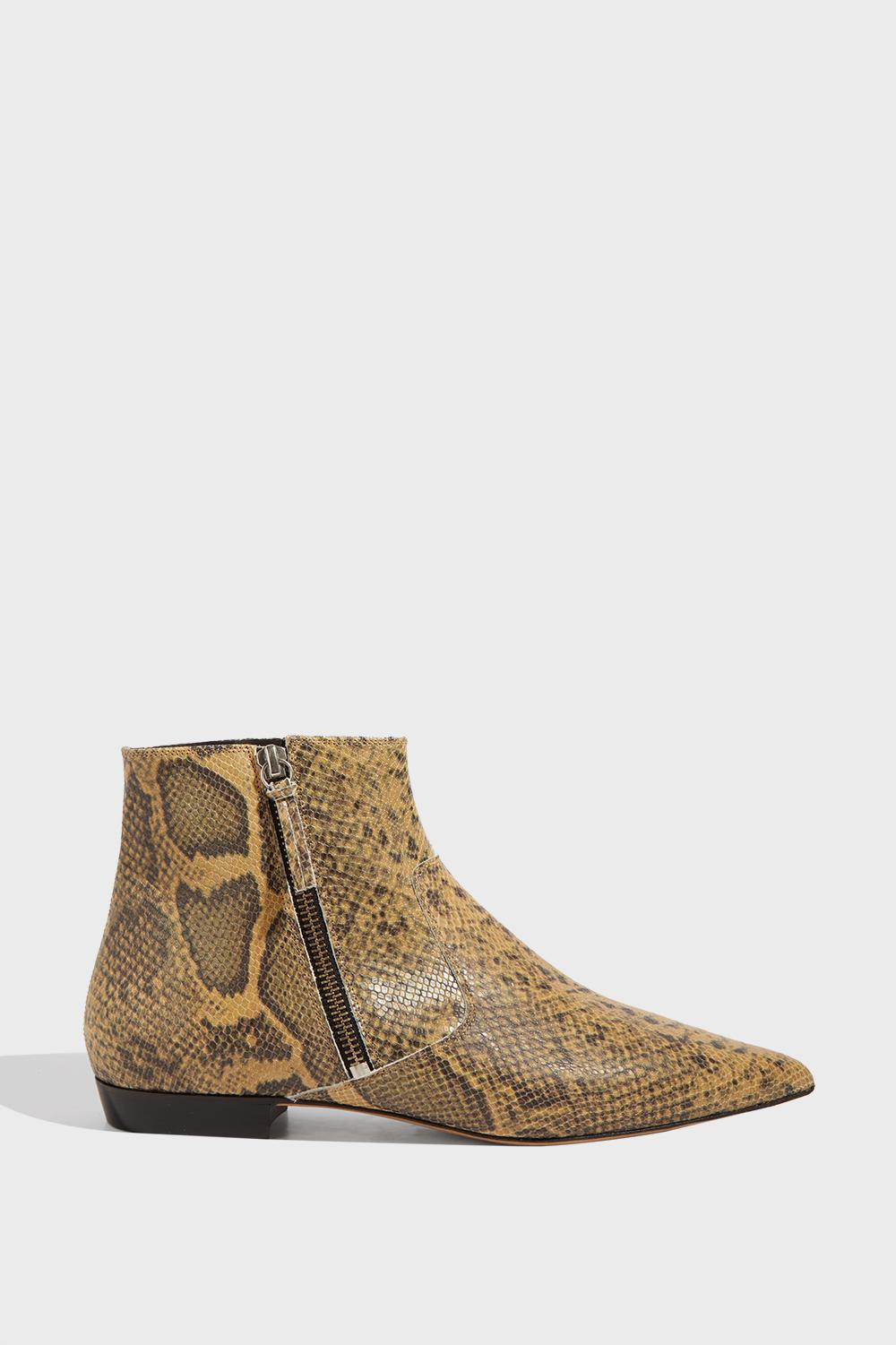 DAWIE SNAKE-EFFECT LEATHER ANKLE BOOTS, FR41