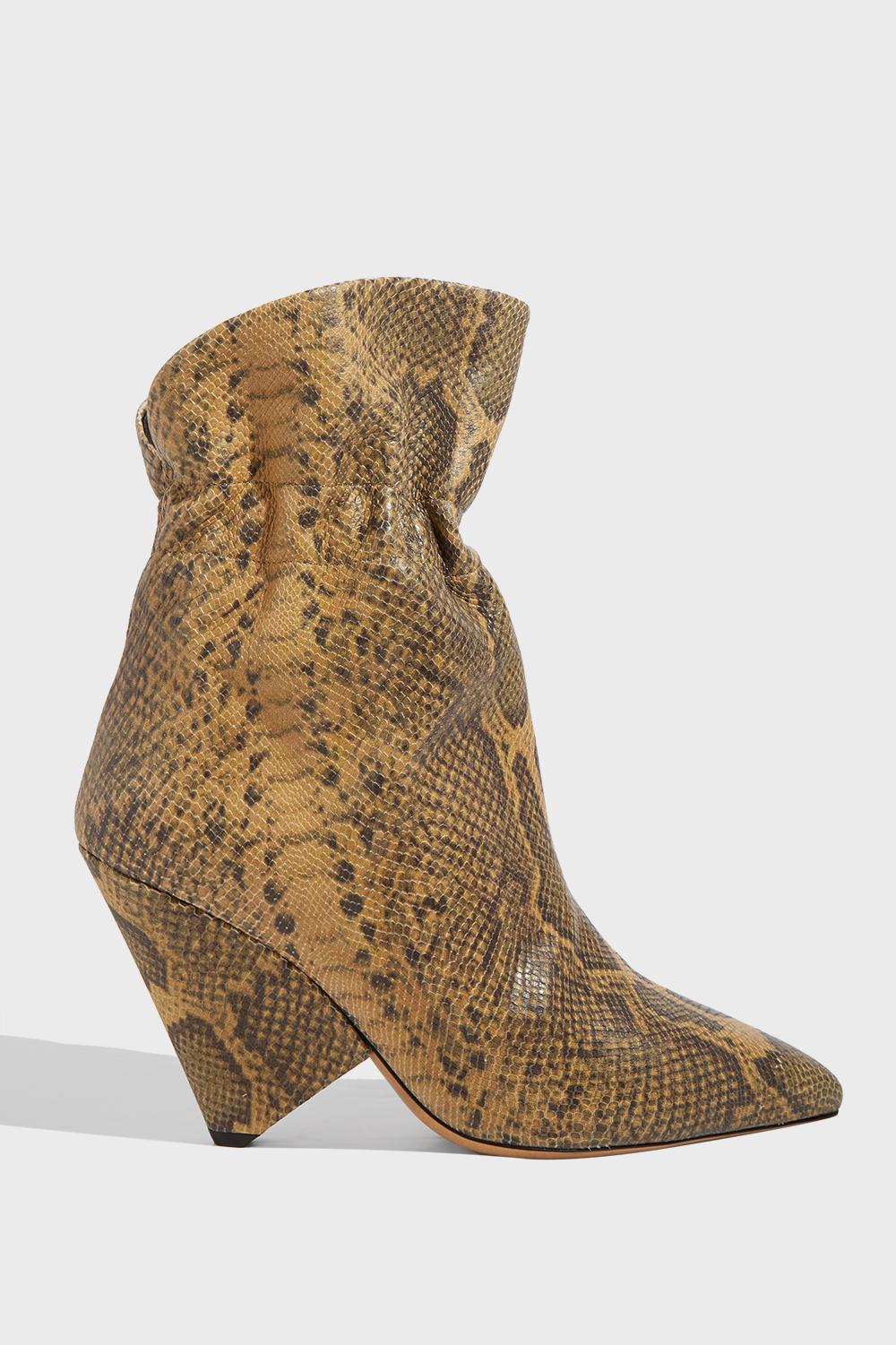 LILEAS SNAKE-EFFECT LEATHER ANKLE BOOTS, FR41