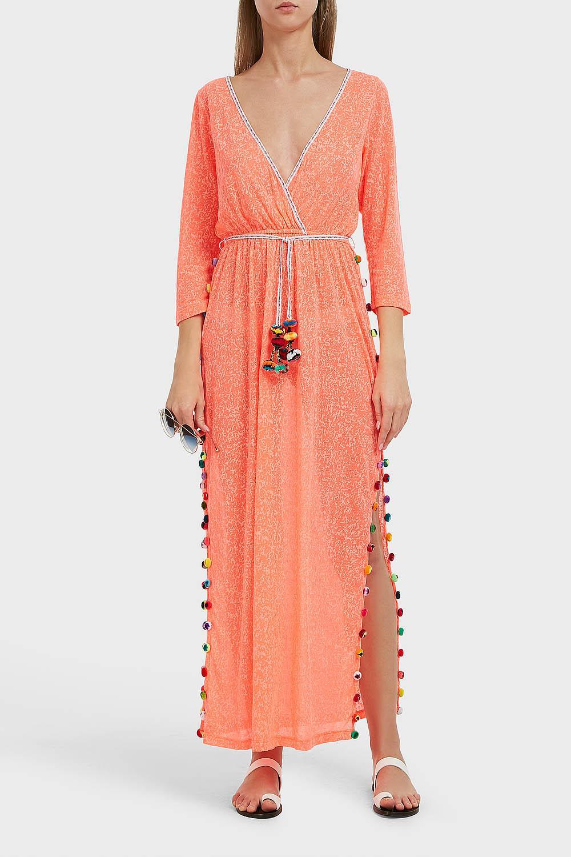 PITUSA SANTORINI DRESS, SIZE 2, WOMEN, ORANGE