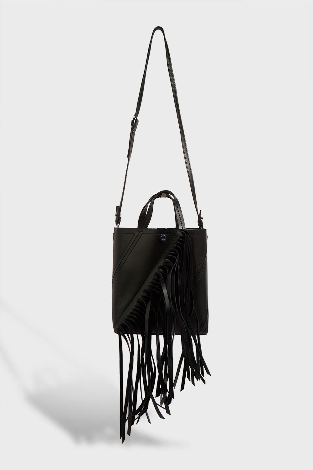 PROENZA SCHOULER HEX SMALL FRINGED LEATHER TOTE, SIZE OS, WOMEN, BLACK