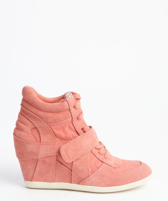 Peach Suede And Canvas Wedge Heel High Top Sneakers