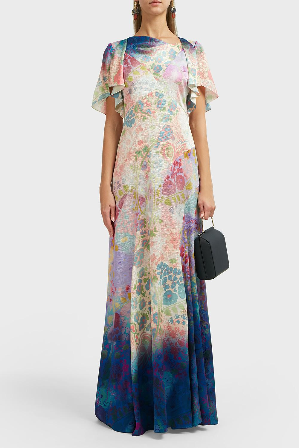 Peter Pilotto Cowl Neck Silk Gown