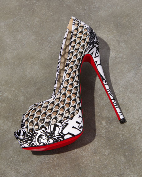 best service ffbde 2332a Fetish Fishnet Lace Extra High-Heel Red Sole Pumps in Black/White