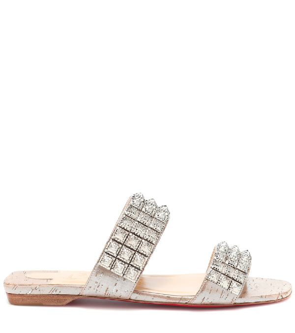 709aeb1f6628e Christian Louboutin Myradiam Flat Liege Pepite Silver Flat Sandals ...
