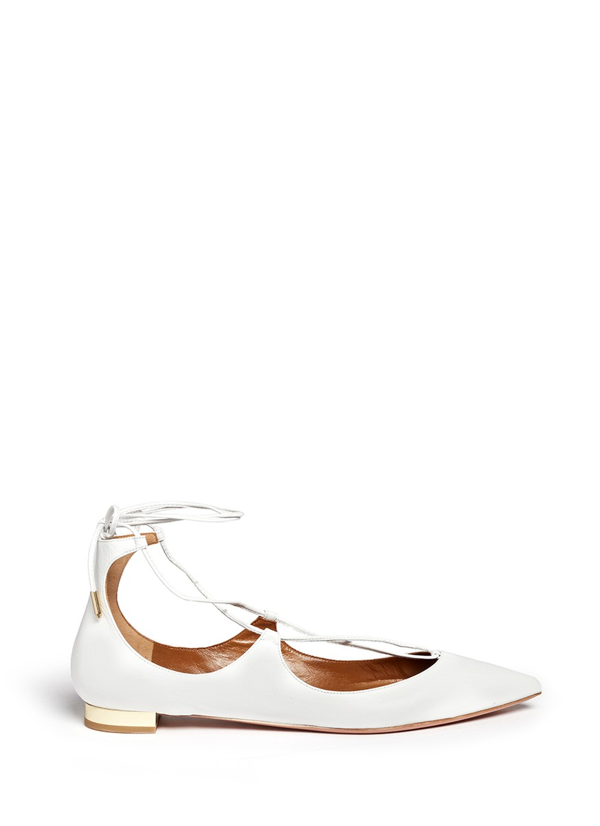 Christy Lizard-Effect Leather Point-Toe Flats