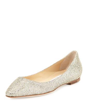 ROMY FLAT Platinum Ice Dusty Glitter Pointy Toe Flats
