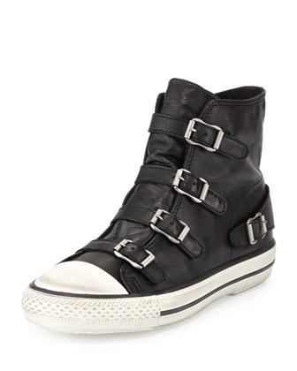 'Virgin' Buckle Leather High Top Sneakers