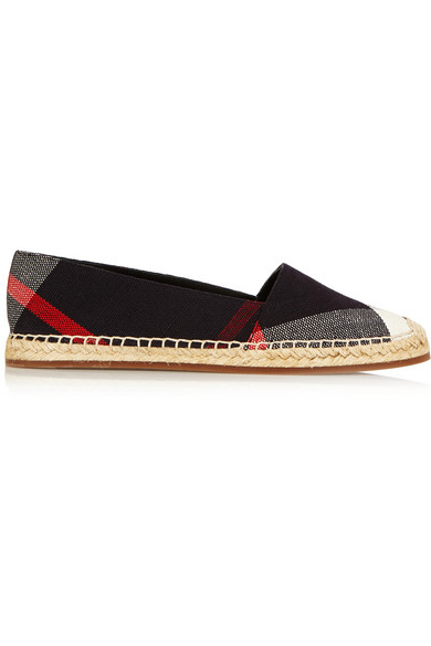 HODGESON CHECK CANVAS FLAT ESPADRILLE, NAVY CHECK