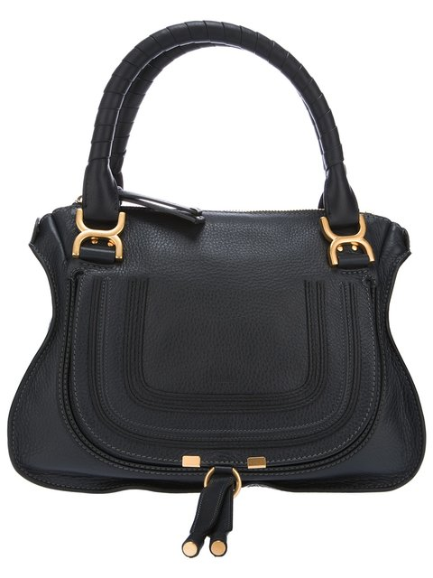 Black Leather 'Marcie' Convertible Tote