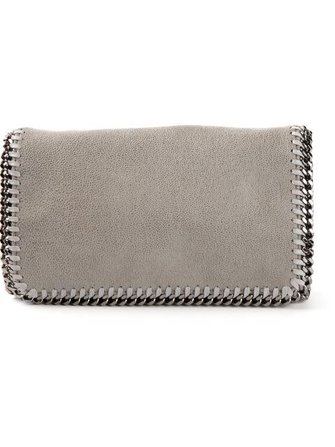 Light Grey Faux Suede 'Falabella' Braided Chain Detail Shoulder Bag