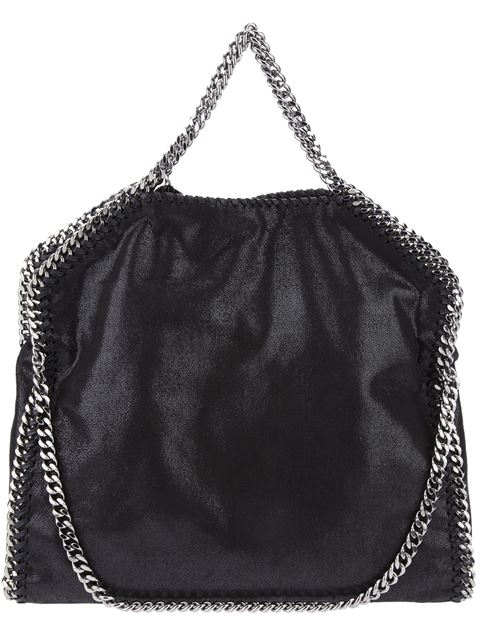 'FALABELLA - SHAGGY DEER' FAUX LEATHER FOLDOVER TOTE - BLACK