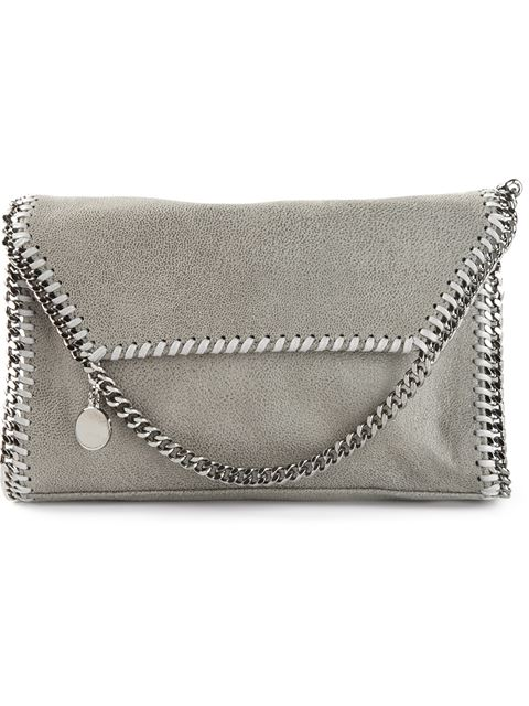 Light Grey Faux Suede 'Falabella' Chain Link Cross Body