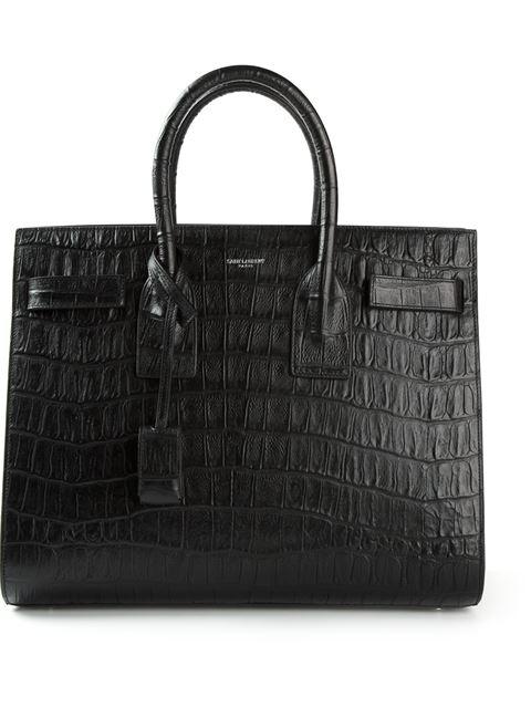 Black Croc-Embossed Leather 'Baby Sac De Jour' Convertible Tote