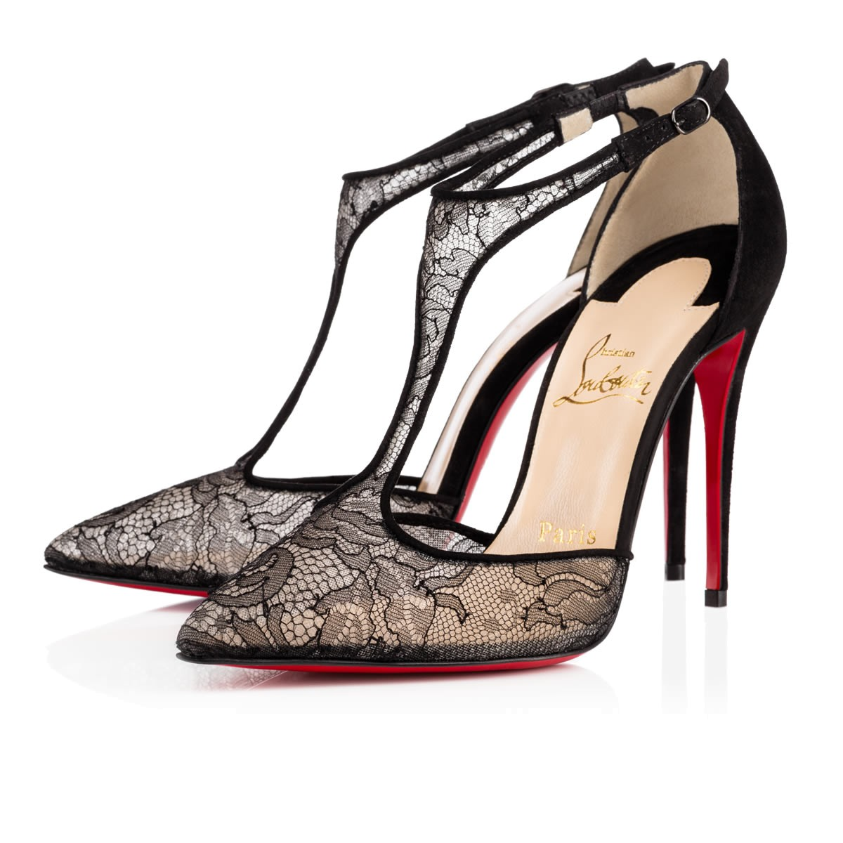 In China Online Christian Louboutin Suede T-Strap Pumps Cheap Looking For xoOrCQ