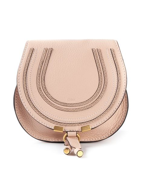 CHLOE SMALL MARCIE GRAINED CALFSKIN SADDLE BAG IN NEUTRALS