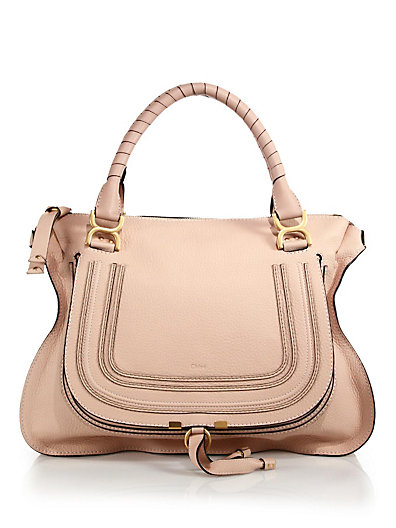 Blush Nude Leather Large 'Marcie' Tote Bag