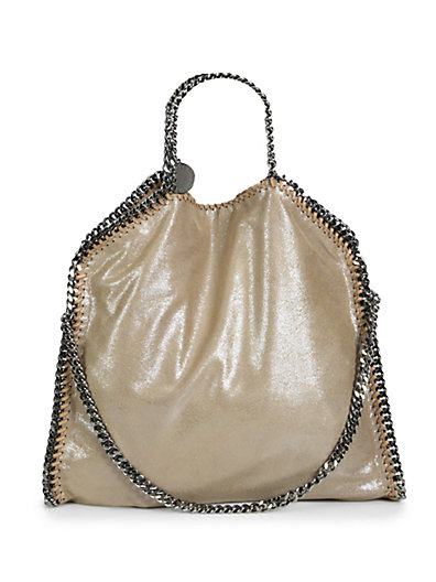 Sand Falabella Silk Mix Metallic Small Tote