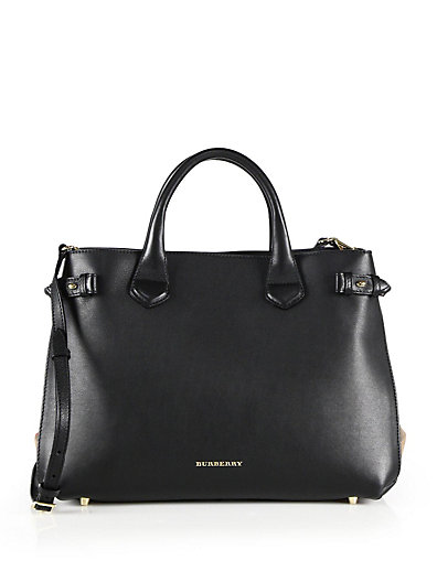 MEDIUM BANNER HOUSE CHECK LEATHER TOTE - BLACK