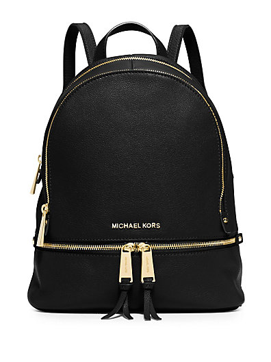 'EXTRA SMALL RHEA ZIP' LEATHER BACKPACK - BLACK