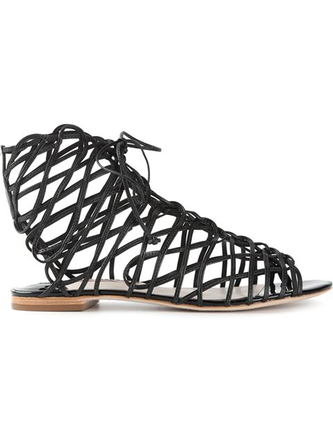Black Leather Delphine Gladiator Sandals