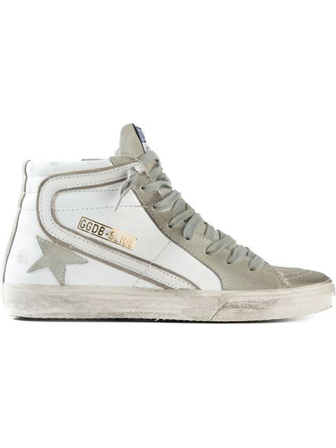 Slide High-Top Sneakers in Suede and Leather