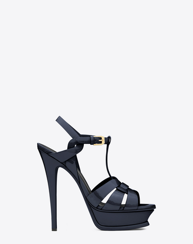 TRIBUTE 105 SANDAL IN NAVY BLUE PATENT LEATHER