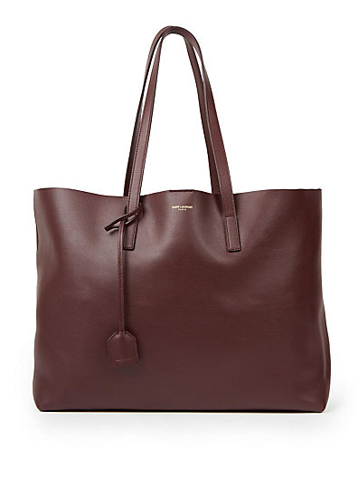 PERFORATED LOGO CALFSKIN LEATHER SHOPPER - BROWN