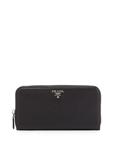 Saffiano Metal Oro Zip-Around Wallet, Black (Nero)