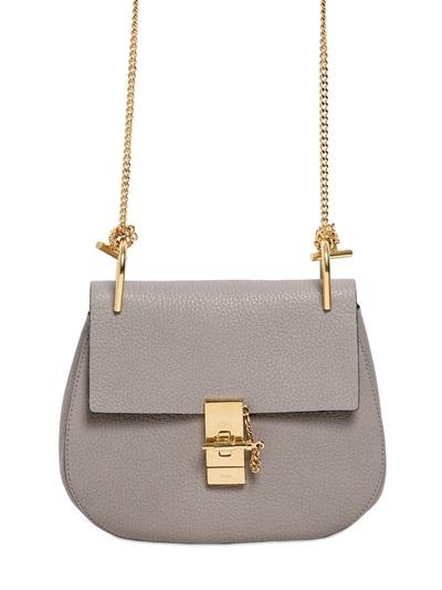 Chloé  Small Drew Grained Nappa Leather Bag, Motty Grey