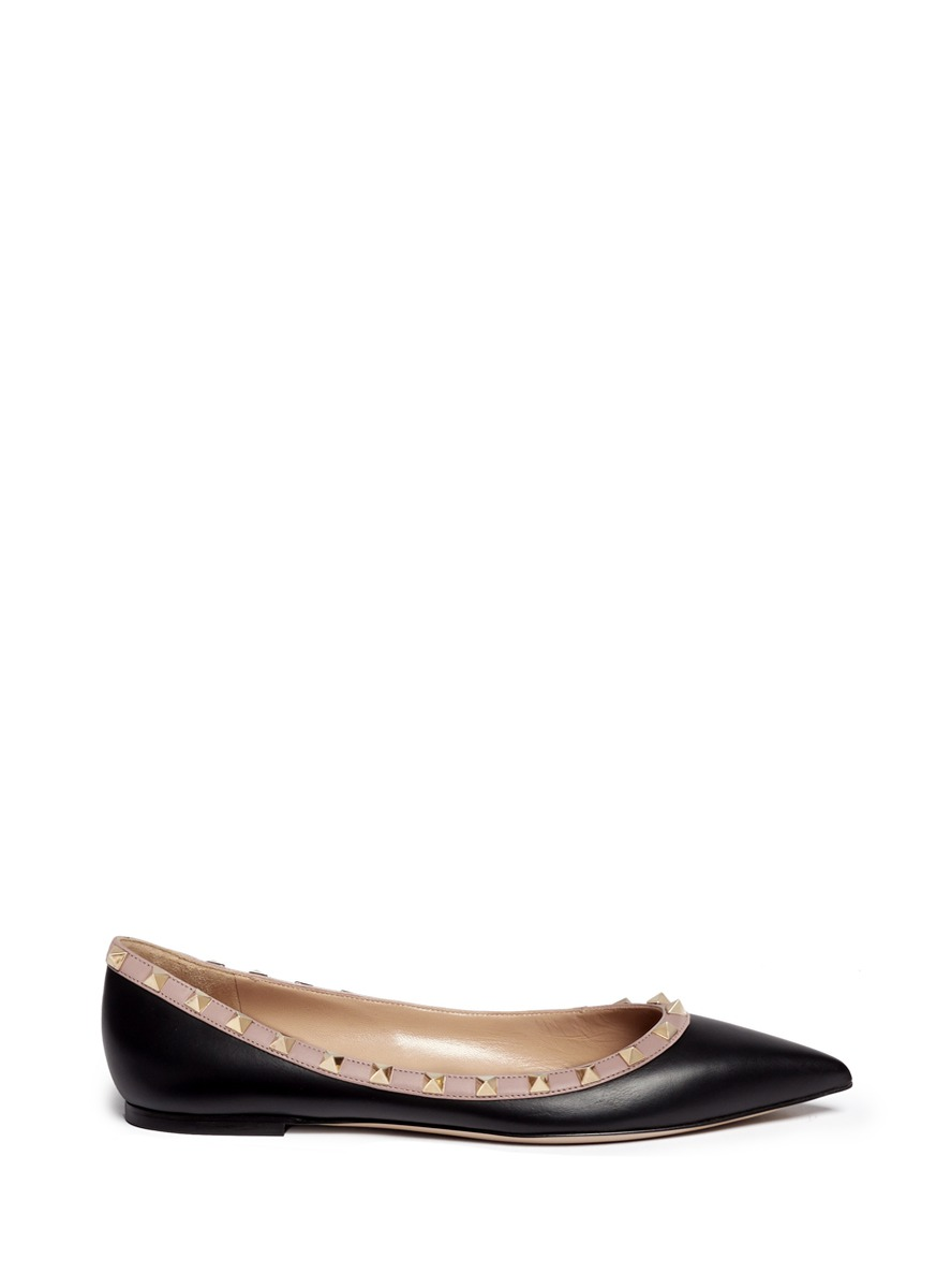 GARAVANI ROCKSTUD PATENT LEATHER BALLERINAS