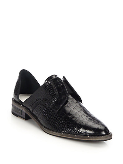 WOMEN'S WEAR LACELESS D'ORSAY CROC-EMBOSSED LEATHER OXFORDS