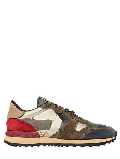 Rockrunner metallic suede and printed leather sneakers