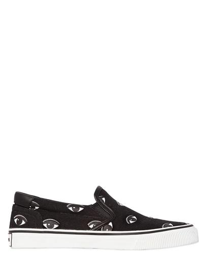 10Mm Eye Cotton Canvas Slip-On Sneakers, Black/White