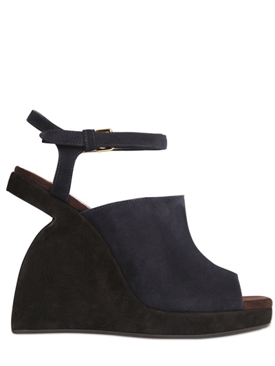 110Mm Suede Platform Wedges, Black/Blue