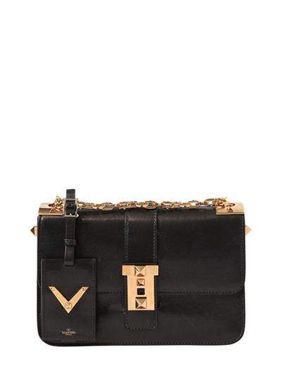 B-Rockstud Polished Leather Shoulder Bag, Black