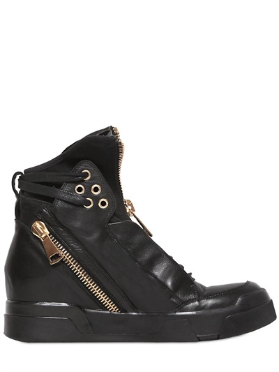 Zipped Leather High Top Sneakers